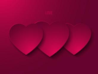 3 cuori viola – purple love greeting card