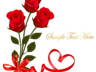 3 rose rosse – red rose with ribbon Valentine day card