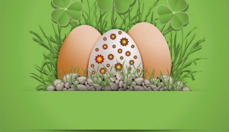 3 uova di Pasqua, trifogli, pietre – Easter eggs, clovers, stones