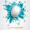 uovo di Pasqua bianco – white Easter egg over blue splatter