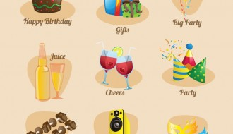 9 icone feste – party icons