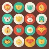 16 icone animali – flat animal portrait icons