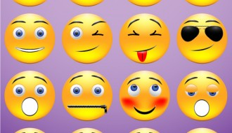 16 faccine – yellow round emoticons icons