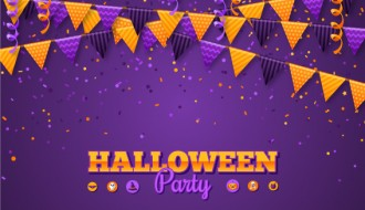 sfondo Halloween, bandierine – Halloween party, flags