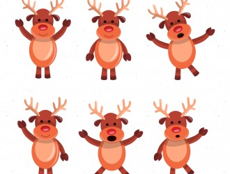 6 cervi Natale – Christmas deers cartoon