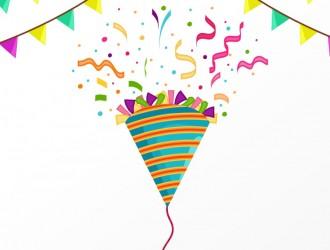 festoni, cappello festa, coriandoli – party flags, hat, confetti