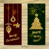 2 banner dorati Natale – Merry Christmas, Happy New Year gold  banner