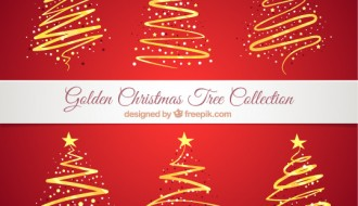 6 alberi di Natale dorati – golden Christmas trees