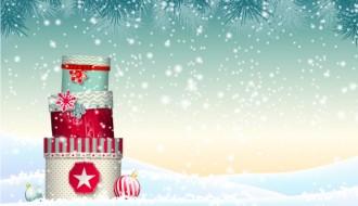sfondo neve, scatole Natale – Chrishtmas gift box winter snow background