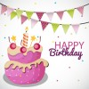 torta compleanno, bandierine – cartoon birthday cake, color balloons
