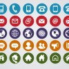 30 icone rotonde contatti – round web contact icons set