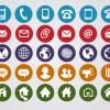 30 icone rotonde contatti – round web contact icons set