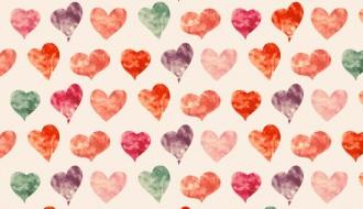 pattern cuori acquerelli – watercolor hearts pattern