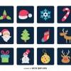 12 icone Natale sfondo nero- Christmas icons