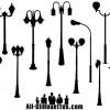 sagome lampioni – retro street lights silhouettes