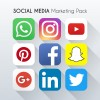 9 social media icons marketing pack