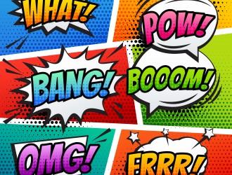 6 fumetti sonori pop art – pop art speech bubbles