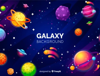 sfondo galassia con pianeti – galaxy background with planets