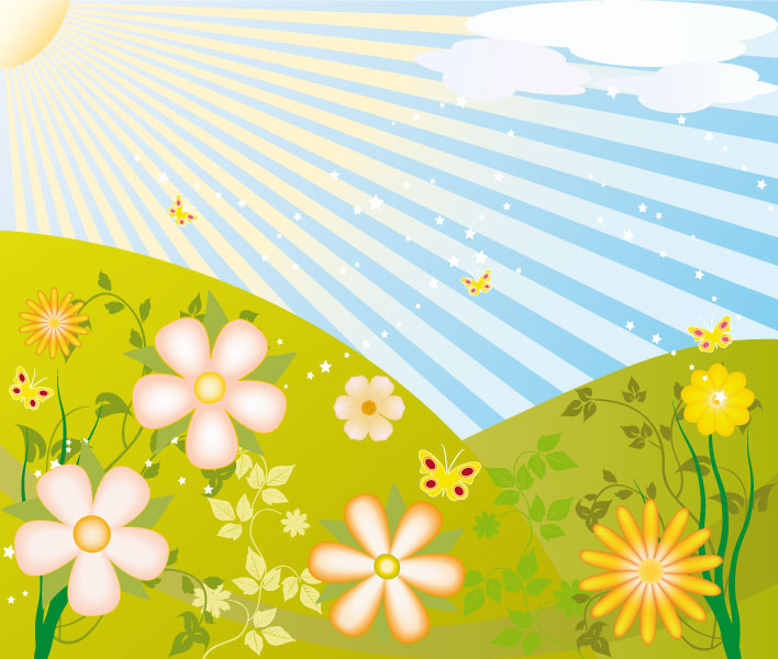 prato di fiori con farfalle – flowers\' meadow with butterflies ...