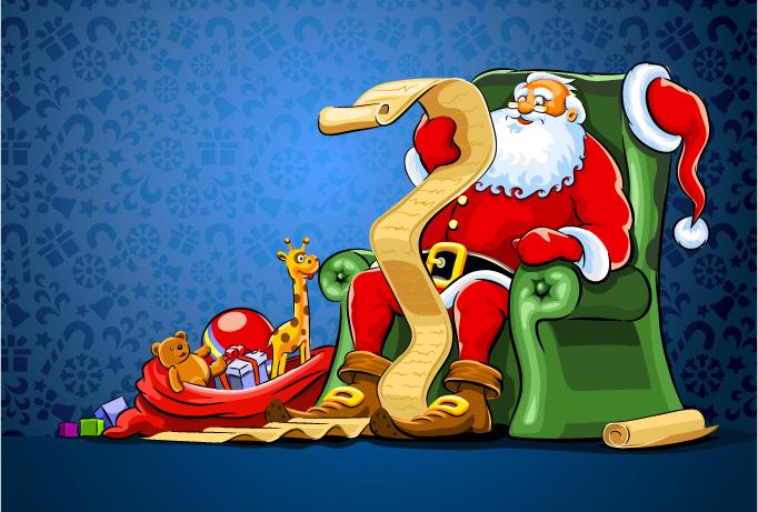 Babbo natale con regali e lista santa claus with gifts for Sito regali gratis