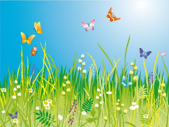 Prato con farfalle meadow with butterflies vettoriali for Sfondi con farfalle