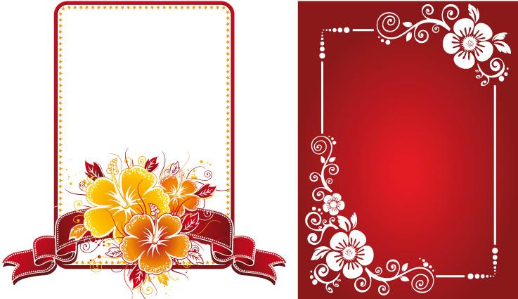 2 cornici floreali floral frames vettoriali for Cornici per foto colorate