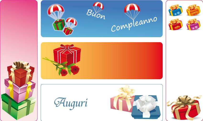 5 banner regali gifts banner vettoriali for Sito regali gratis