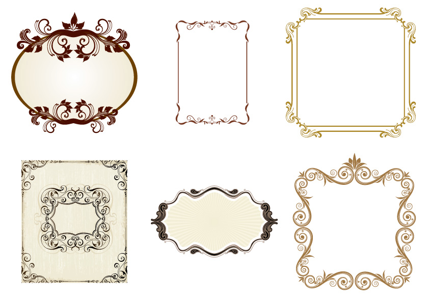 6 cornici vintage frames vettoriali free