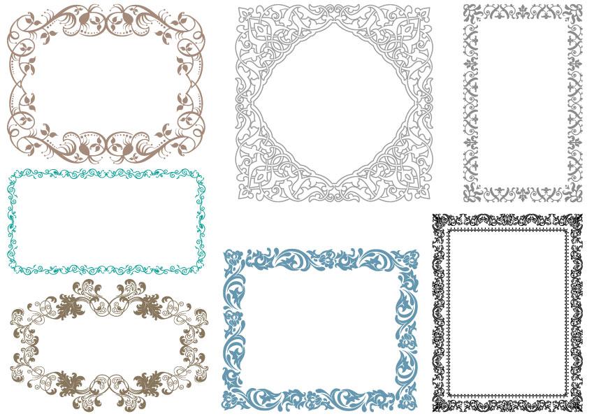 7 cornici decorative ornamental frames vettoriali