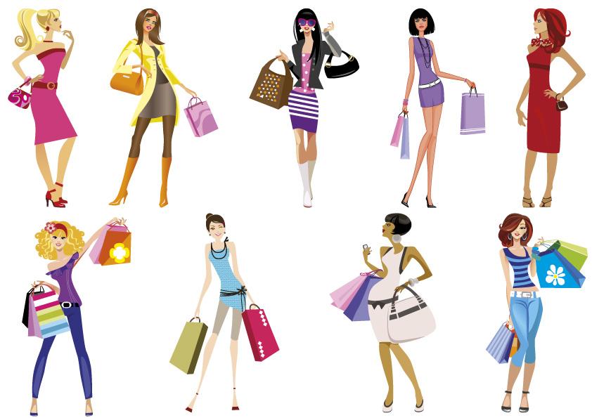 Sagome ragazze shopping girls silhouette vettoriali gratis it