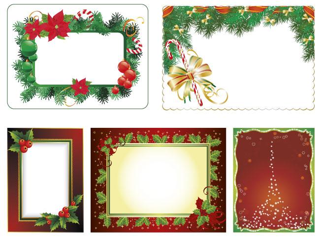 5 cornici natale christmas frames vettoriali for Cornici da foto