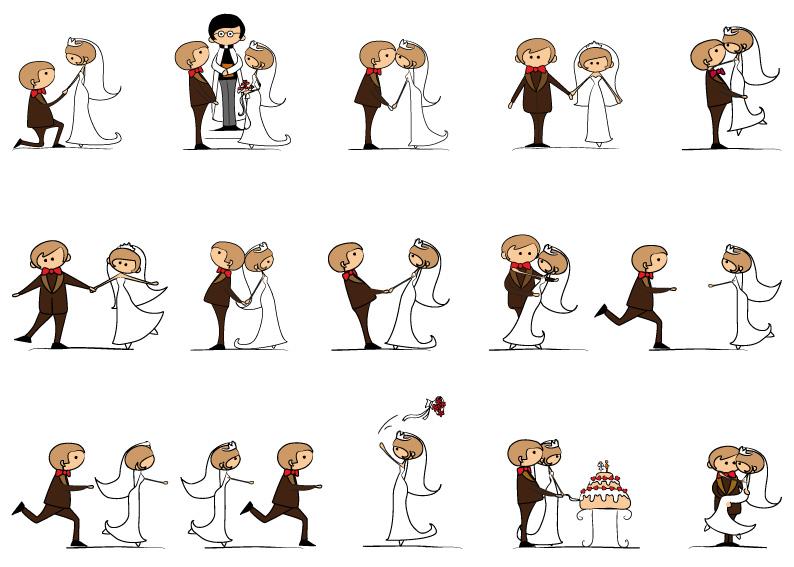 Sposi Newlyweds Cartoons Vettoriali Gratis It Free