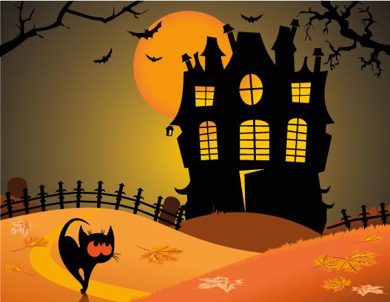 Paesaggio Halloween Halloween Landscape Vettoriali