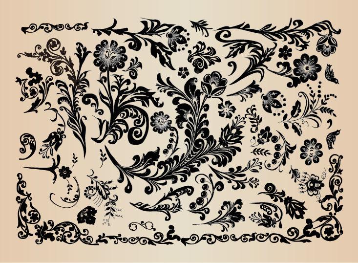 Decorazioni floreali floral vintage design elements - Decorazioni vintage ...