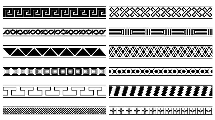 12 bordi decorativi deco borders vettoriali for Bordi decorativi