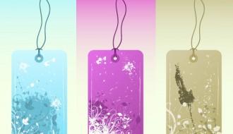 etichette floreali – flowered grunge labels_1