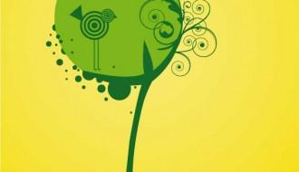 albero con uccello stilizzato – stylized tree and bird