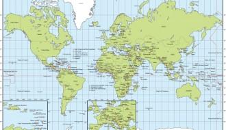 planisfero con capitali – planisphere with capitals
