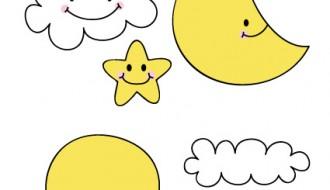 sole, luna, stella, nuvole – sun, moon, star, clouds