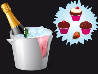 spumante con fragola e dolci – champagne with strawberry and cup cakes