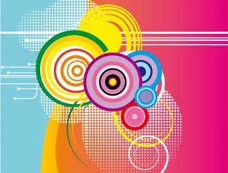 sfondo colorato con cerchi – colored background with circles