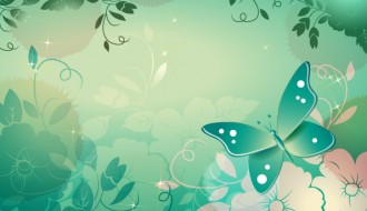 sfondo floreale con farfalla – floral background with butterfly