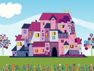 case con fiori e alberi – houses with flowers and trees