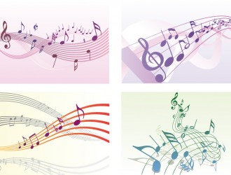4 pentagrammi e note musicali – musical staff and notes