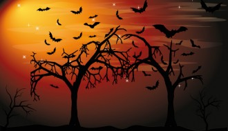 sfondo Halloween alberi pipistrelli – Halloween background trees bats
