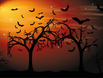 sfondo Halloween alberi pipistrelli – Halloween background trees bats