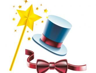 cilindro, bacchetta magica, papillon, magic hat, wand