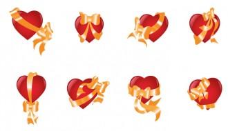 8 cuori con fiocchi – hearts with ribbons