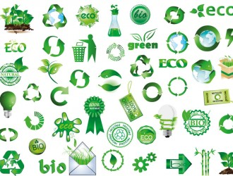 icone verdi, ambiente, riciclo – green icons, recycle