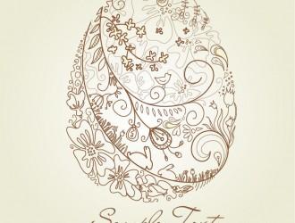 biglietto uovo Pasqua floreale – Floral Easter Egg Card